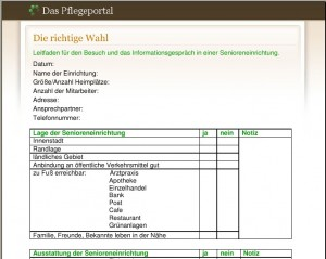 Checkliste Pflegeheim